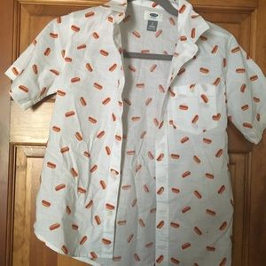 BNWOT Old Navy Boys Hot Dog Button-up - M (8)